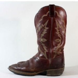Vtg Justin Brown Leather Western Cowboy Boots